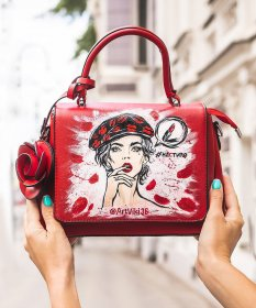 Leather Mini Tote Bag with Rose and Girl Print in Red